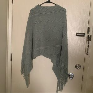 Sage green kitted sweater poncho